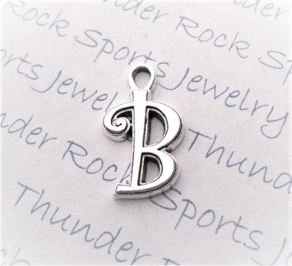 24 Initial Script Letter B Charms Silver