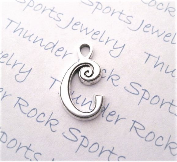 24 Initial Script Letter C Charms Silver