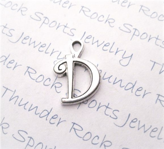 24 Initial Script Letter D Charms Silver