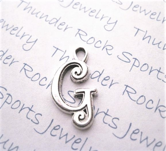 12 Initial Script Letter G Charms Silver