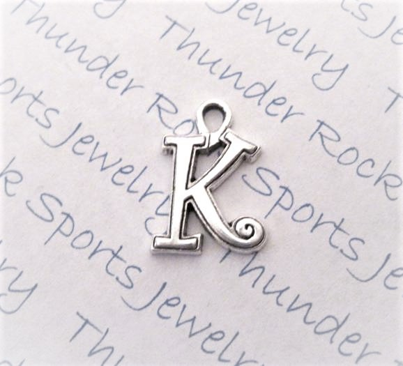 24 Initial Script Letter K Charms Silver