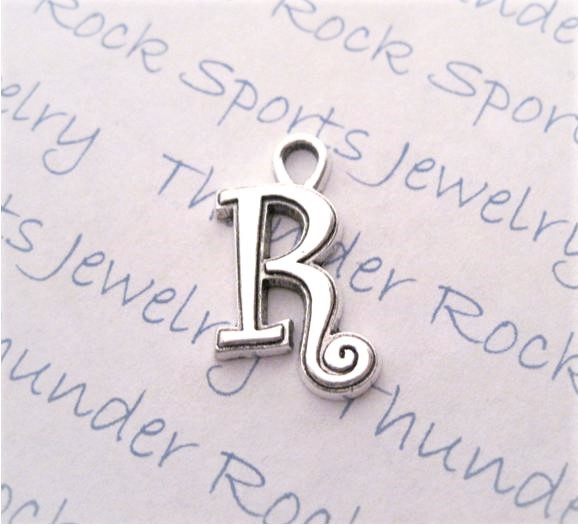 24 Initial Script Letter R Charms Silver