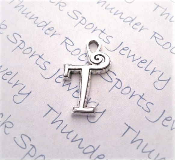 24 Initial Script Letter T Charms Silver