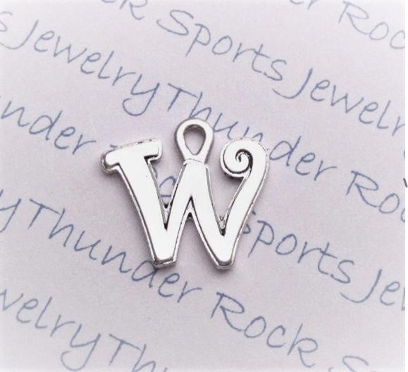 12 Initial Script Letter W Charms Silver