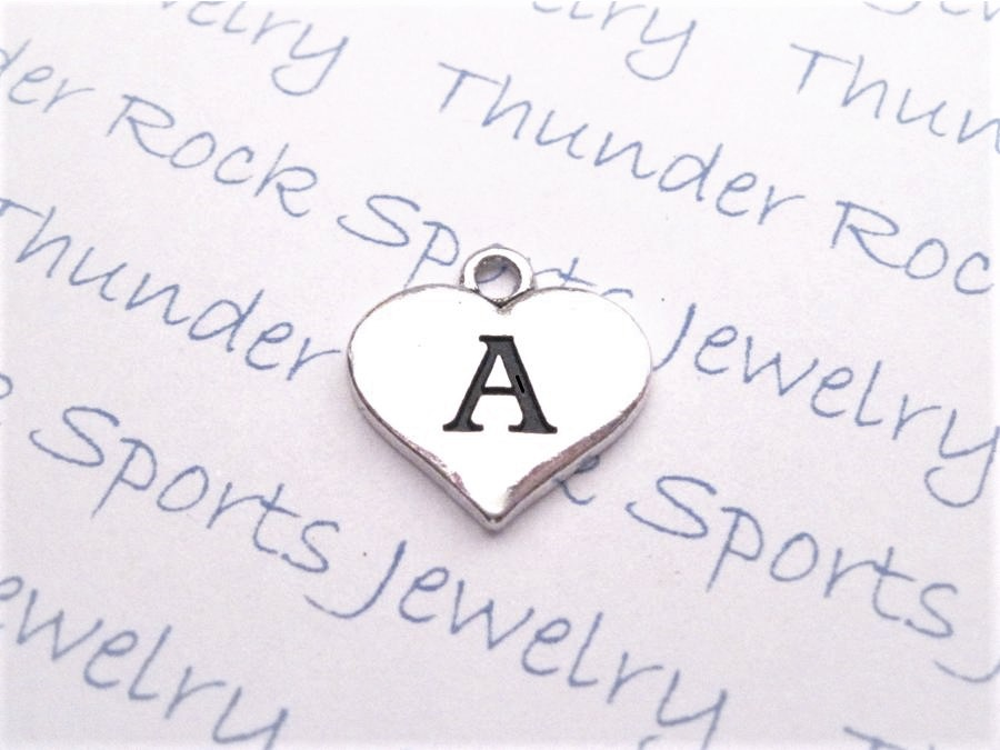 24 Initial Letter A Charms Silver Heart