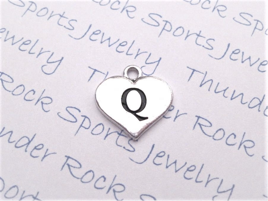 12 Initial Letter Q Charms Silver Heart