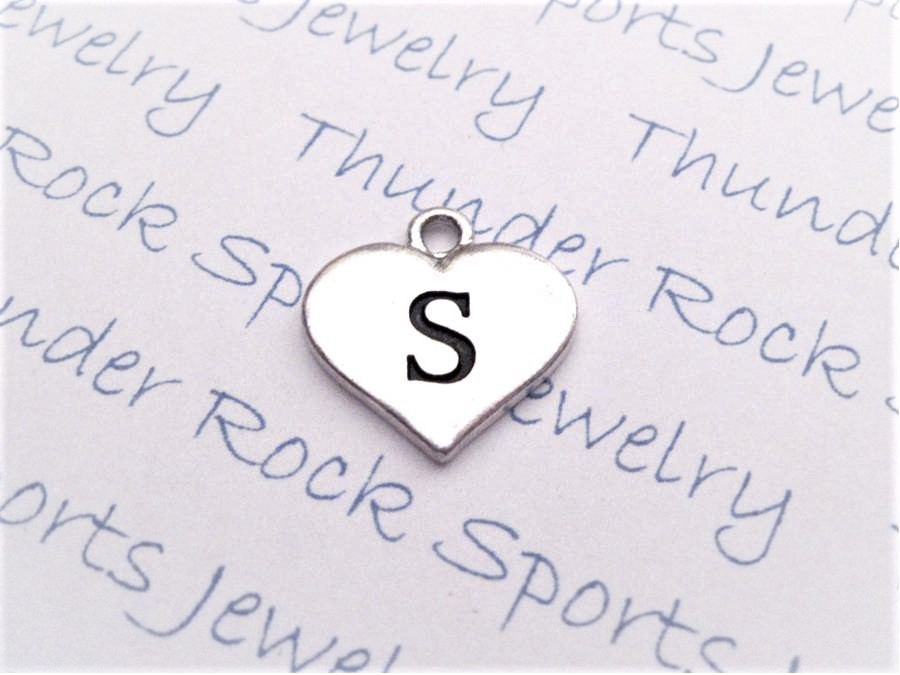 12 Initial Letter S Charms Silver Heart