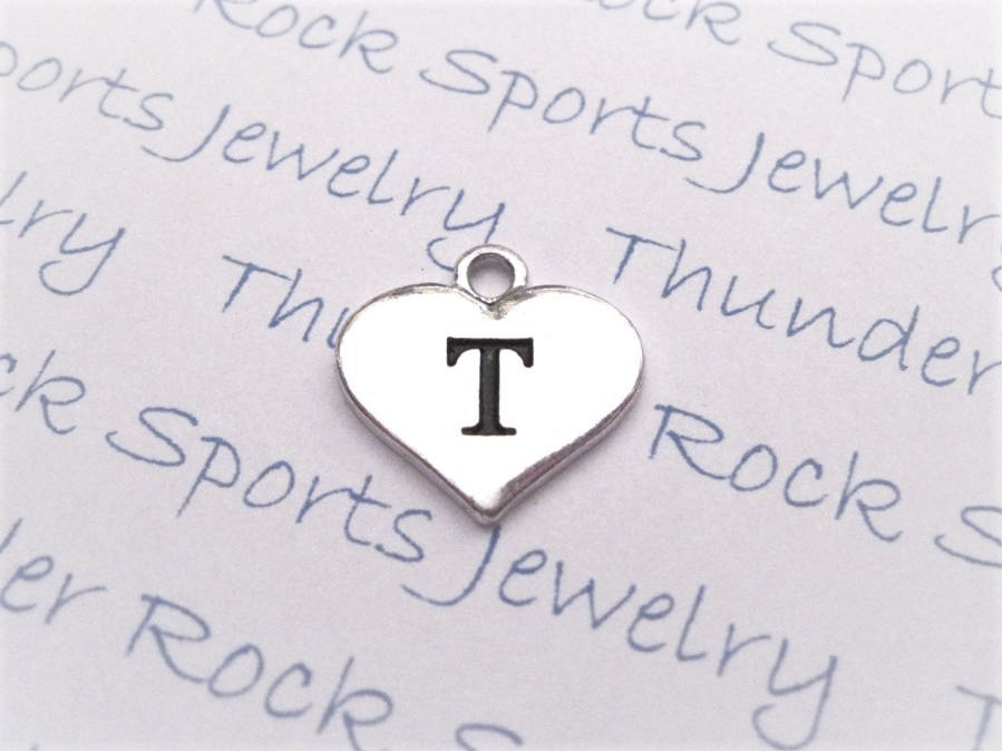 12 Initial Letter T Charms Silver Heart