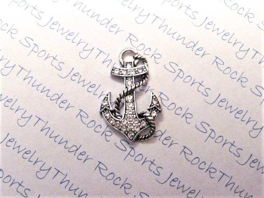 12 Anchor Charms Clear Crystals