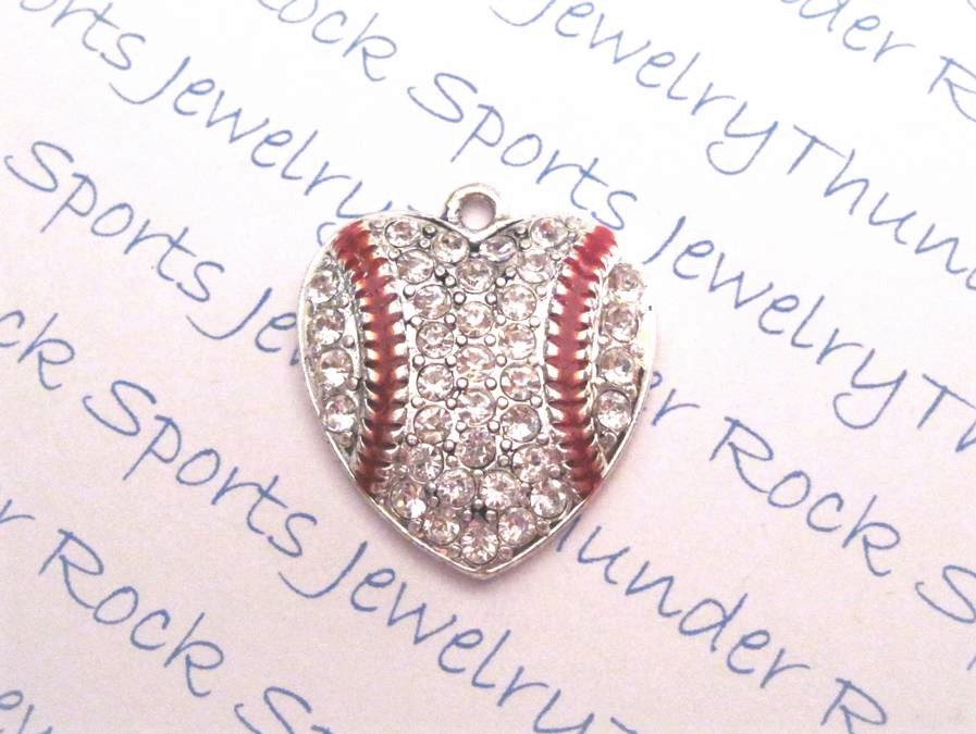 12 Baseball Charms Hearts Clear Crystals