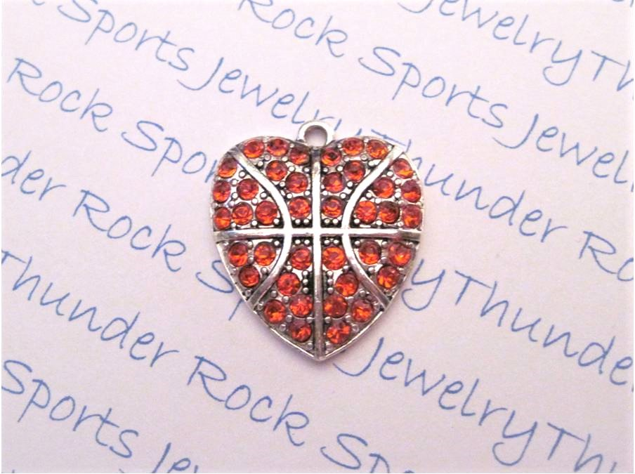 12 Basketball Charms Hearts Orange Crystals