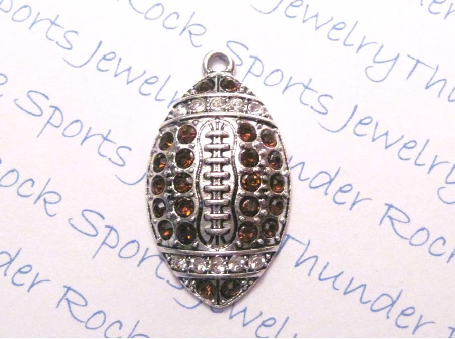 12 Football Ball Charms Brown Crystals Large