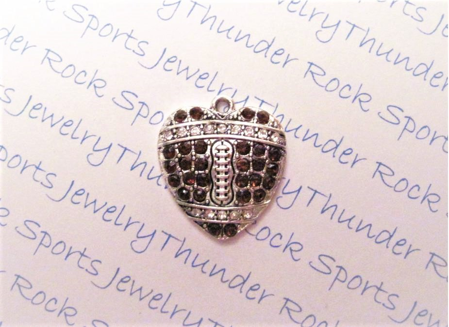 12 Football Charms Hearts Brown Crystals