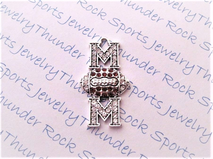 12 Football Mom Charms Brown Clear Crystals