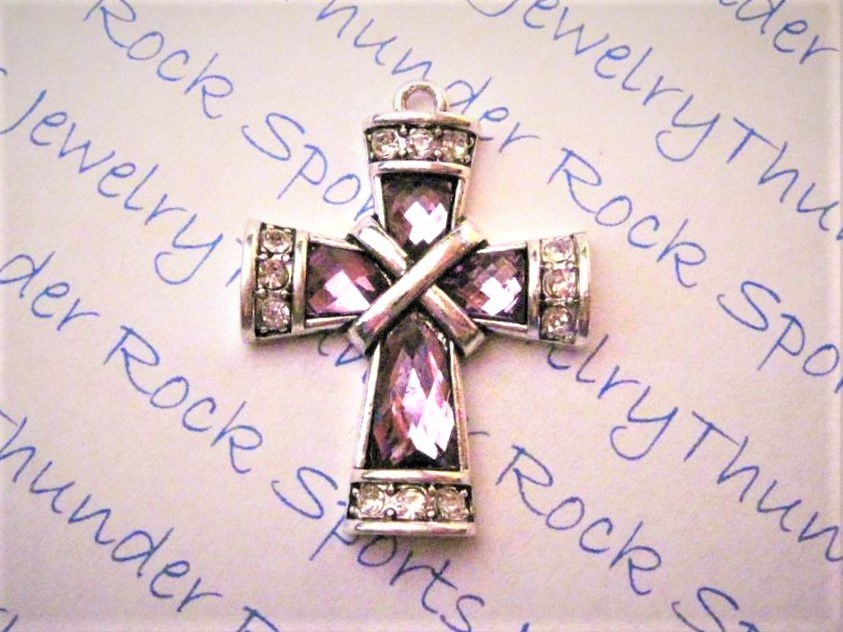 24 Cross Charms Purple Crystals
