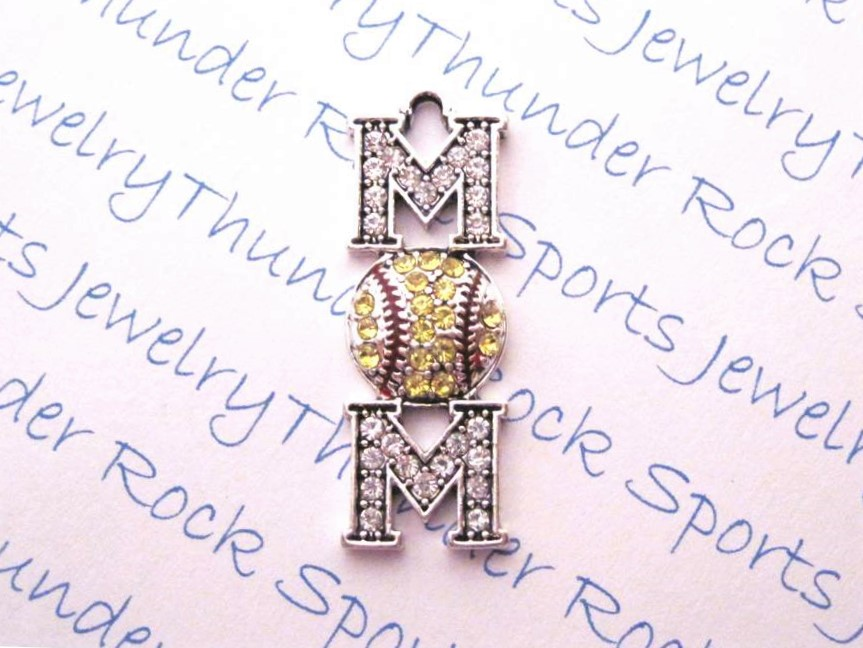 12 Softball Mom Charms Yellow Crystals