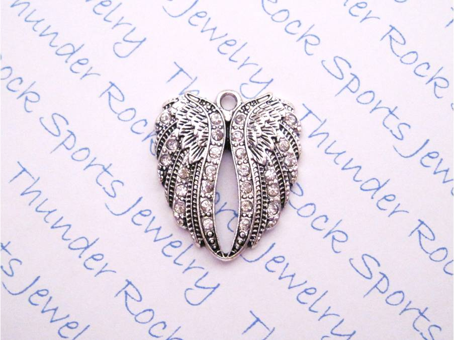 12 Angel Wings Charms Clear Crystals