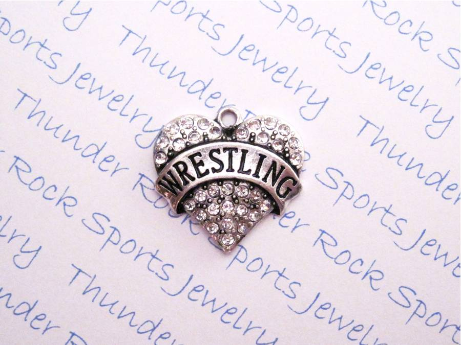12 Wrestling Charms Hearts Clear Crystals