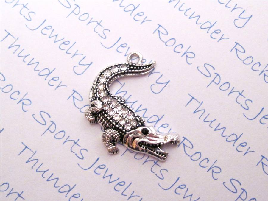 12 Alligator Charms Clear Crystals