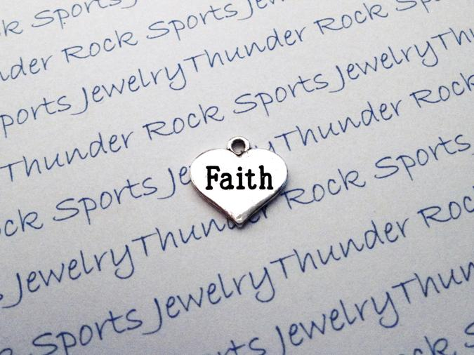 12 Faith Hearts Silver Charms