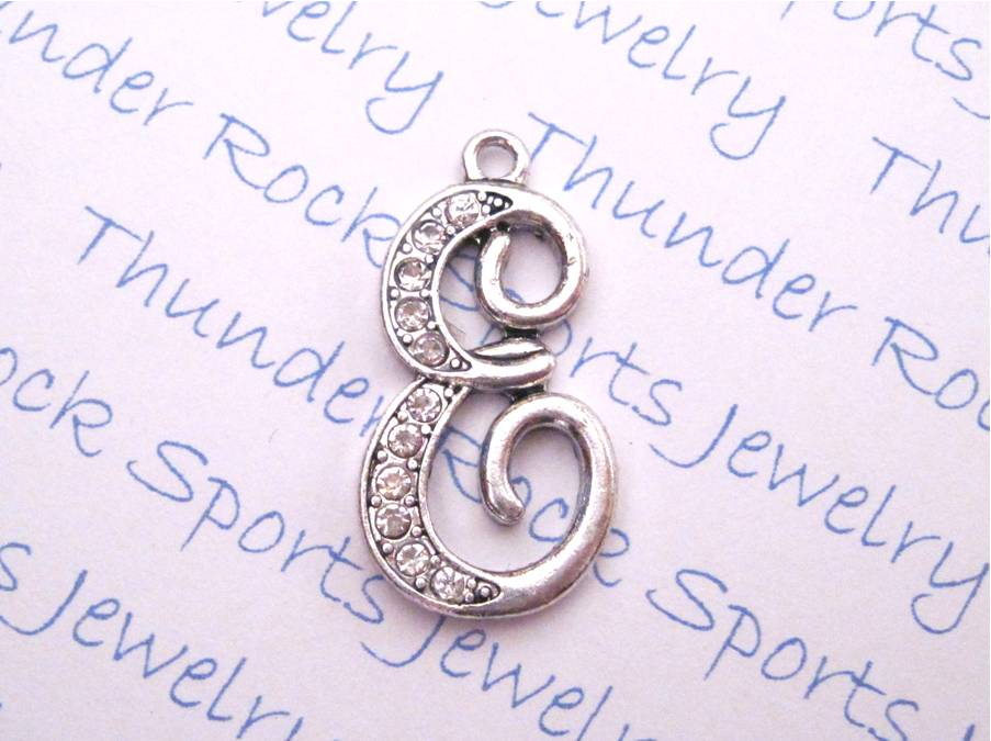 12 Crystal Letter E Charms