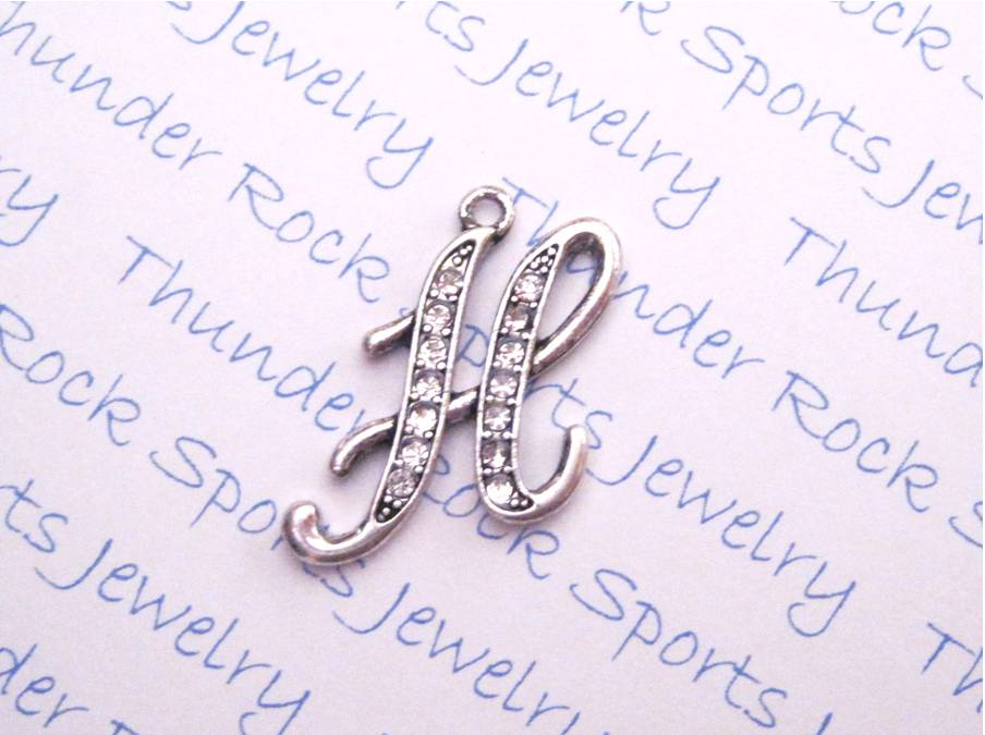 24 Crystal Letter H Charms