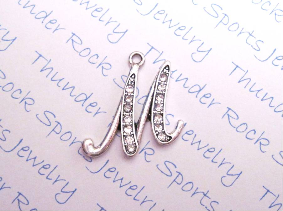 24 Crystal Letter M Charms